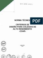 Norma Técnica Criterios de Diseño Para Colegios de Alto Rendimiento