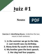 Quiz on Nouns