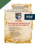 INFORME de LAB de QUIMICA N 02 Propiedades Generales de Los Compuestos Organicos
