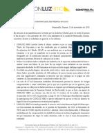 Comunicado de Prensa Conluz Hmo