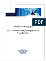 SysArc DataVaulting Comparison to Tape Backup