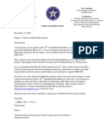 Rep Charles Key 10th Amendment Resolution Support Letter (December 2008 Re