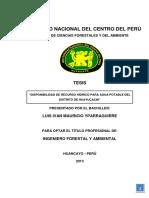 Disponibilidad de Recurso Hídrico Para Agua Potable Del Distrito de Huayucachi