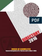 Carmelite Directory 2016 - Indian General Delegation