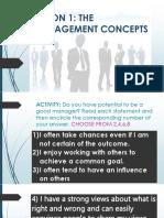 Lesson 1 the Management Concept