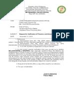 Request for Verification FA's