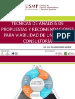 A Técnicas de Análisis de Propuestas y Recomendaciones Para Viabilidad de Un Plan de Consultoría Según Especialidad