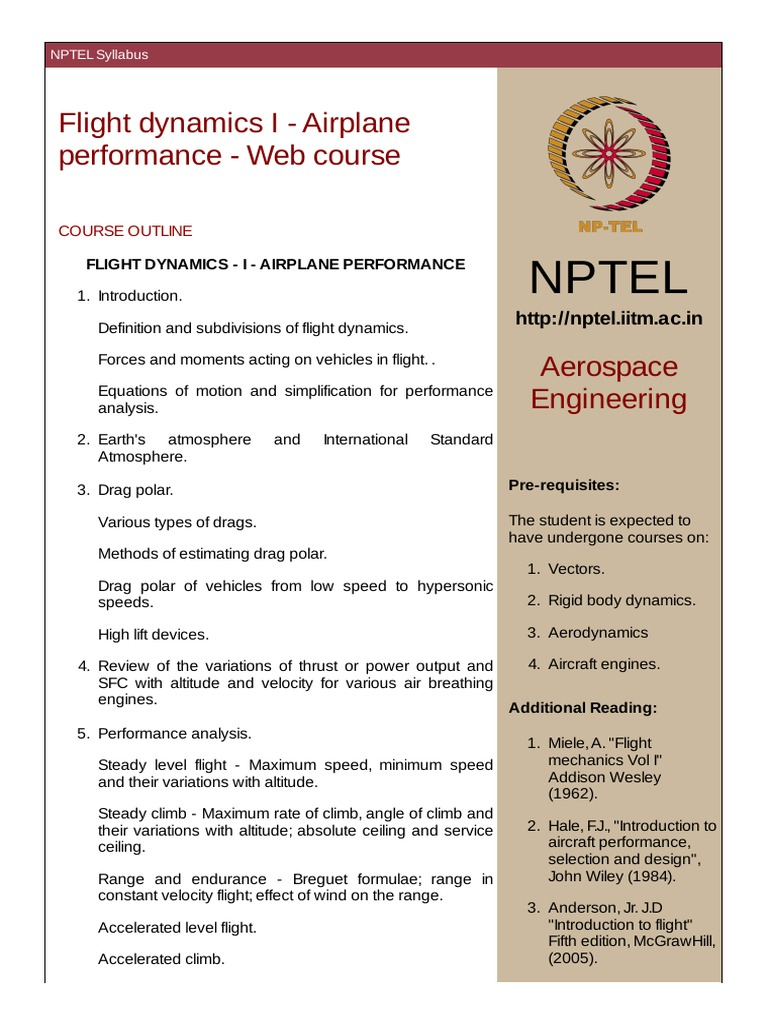 Aircraft Performance Nptel Pdf Flight Dynamics Fixed Wing Aircraft Acceleration