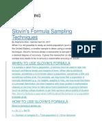 Slovin Formula Sampling Techniques
