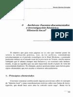 Archivos, Fuentes Documentales e Investigación Histórica. Historia Local