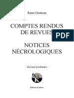 Rene Guenon - Recueil Posthume - Comptes Rendus de Revues - Notices Necrologiques