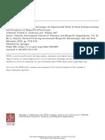 The Social.entrepreneurship Advantege an Experimental Study of Social Entrepreneurship