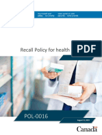 Aug 2019 - Recall Policy for Health Products
