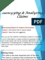Identifying & Analyzing Claims and Distinguishing