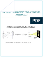 Physics Investigatory Project on interference of light