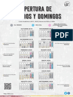 Modificaciones - Curso 2019-2020 - Calendario de apertura de sábados y domingos - CRAI Antonio de Ulloa y tres bibliotecas más