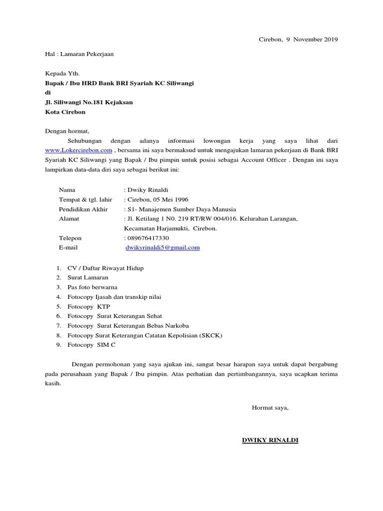 Surat Lamaran Kerja Dan Cv Bank Bri Syariah