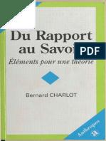 Bernard Charlot - Du rapport au savoir. Eléments pour une théorie-Anthropos (1994)