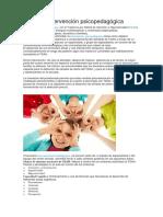 Áreas de Intervención Psicopedagógica