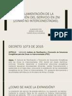Reglamentación de la prestación del servicio de energía en ZNI (COLOMBIA)