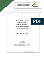 7.1 Modelo de Plan de Manejo Ambiental Semidetallado