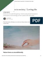 Re-education to Society - Loving the Nature - On Contemporary Society - Medium