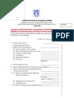 National Inurance Company Limited- Claim Form