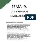 Tema 9 Las Primeras Civilizaciones