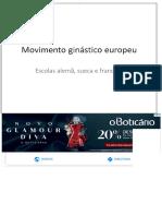 Movimento Ginástico Europeu. Escolas Alemã, Sueca e Francesa - PDF