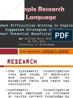 Researches on Language (a Sample Research in Language)