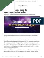 les 40 règles de base de l'orthographe française