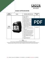 Gaggia - Price List 2019