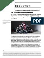 La Onu Califica al Fast Fashion como Contaminante