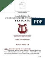 Regolamento 2a ed. Concorso Musicale Internazionale Syntonia