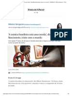 'a Música Brasileira Está Uma Merda', Diz Milton Nascimento, Triste Com o Mundo - 22-09-2019 - Mônica Bergamo - Folha