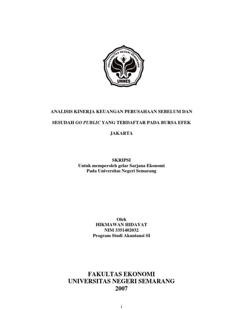 Analisis Kinerja Keuangan An Sebelum Dan Sesudah Go Public