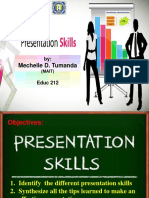 Tumanda, Presentation Skills