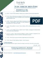 Tere Du Bien-Être 2019 - Programme