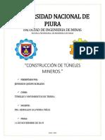 Trabajo Tuneles (Resumen de Construccion de Tuneles Mineros)