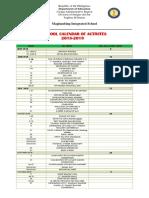 Calendar of Activites 2018 2019