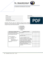 Work Immersion Evaluation Form