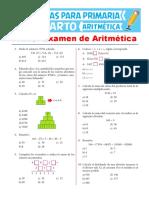 Primer Examen de Aritmética Para Cuarto de Primaria