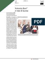 """Il Premio """"Antonio Bori"""" alle migliori tesi di laurea - Il Resto del Carlino del 14 novembre 2019"""