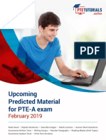 Upcoming Predicted Material for PTE-A Exam Feb-2019