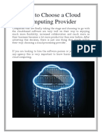 How to Choose a Cloud Computing Provider