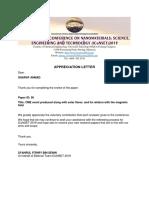 Letter of Appreciation Paper 90 Sharaf Ahmad