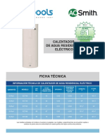 Ficha Tecnica Calentador de Agua Residencial Eléctrico