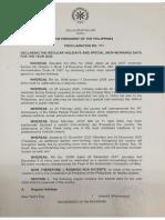 2020 Holidays Proclamation