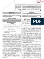 DECRETO DE URGENCIA QUE ESTABLECE MEDIDAS PARA FORTALECER LA SEGURIDAD VIAL EN LA PRESTACIÓN DEL SERVICIO DE TRANSPORTE PÚBLICO TERRESTRE DE CARGA Y DEL TRANSPORTE REGULAR DE PERSONAS DE ÁMBITO NACIONAL