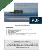 ADVERTISEMENT for Boutique Sales Assistant (1)